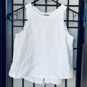Tractr White lace back tank top sz M